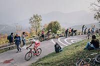 Mattia Cattaneo (ITA/Androni Giocattoli-Sidermec) up the infamous/brutal Muro di Sormano (avg 17%/max 25%)<br /> <br /> 112th Il Lombardia 2018 (ITA)<br /> from Bergamo to Como: 241km