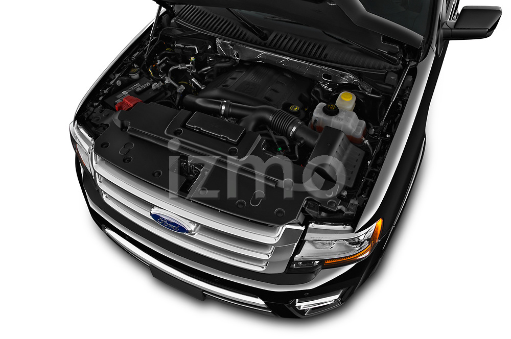 Car Stock 2017 Ford Expedition Limited 5 Door SUV Engine  high angle detail view