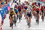 Chloe Hosking (AUS) Alé Cipollini wins Stage 2, ahead of Letizia Paternoster (ITA) Trek-Segafredo) and Roxane Fournier (FRA) Movistar Team Women, of the Ceratizit Madrid Challenge by La Vuelta 2019 running 98.6km around Madrid, Spain. 15th September 2019.<br /> Picture: Luis Angel Gomez/Photogomezsport | Cyclefile<br /> <br /> All photos usage must carry mandatory copyright credit (© Cyclefile | Luis Angel Gomez/Photogomezsport)