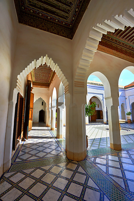 Berber Arabesque courtyard of the Petite Court, Bahia Palace, Marrakesh, Morroco
