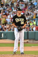 Jarrett Grube (39) of the Salt Lake Bees during the game against the Reno Aces in Pacific Coast League action at Smith's Ballpark on July 23, 2014 in Salt Lake City, Utah.  (Stephen Smith/Four Seam Images)