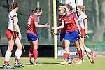 Mannheim, Germany, April 18: During the 1. Bundesliga Damen match between TSV Mannheim (white) and Mannheimer HC (red) on April 18, 2015 at TSV Mannheim in Mannheim, Germany. Final score 1-7 (1-4). (Photo by Dirk Markgraf / www.265-images.com) *** Local caption *** Nikki Kidd #26 of Mannheimer HC, Lydia Haase #12 of Mannheimer HC, Charlotte van Bodegom #14 of Mannheimer HC