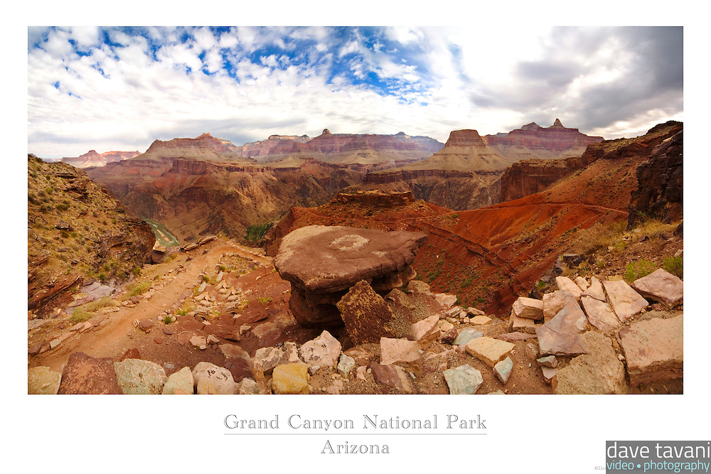 20x30 or 24x36 inch poster of the South Kaibab Trail winding down from the South Rim of the Grand Canyon.