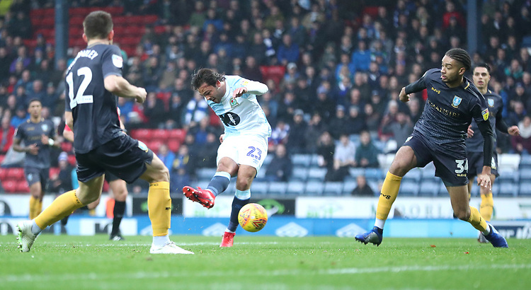 Blackburn Rovers' Bradley Dack  has an attempt at goal<br /> <br /> Photographer Rachel Holborn/CameraSport<br /> <br /> The EFL Sky Bet Championship - Blackburn Rovers v Sheffield Wednesday - Saturday 1st December 2018 - Ewood Park - Blackburn<br /> <br /> World Copyright &copy; 2018 CameraSport. All rights reserved. 43 Linden Ave. Countesthorpe. Leicester. England. LE8 5PG - Tel: +44 (0) 116 277 4147 - admin@camerasport.com - www.camerasport.com