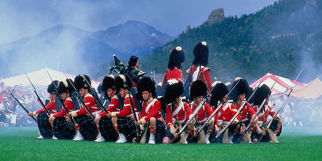 military formation by the 78th Regiment Highlanders from Nova Scotia at the Longs Peak, Scottish and Irish Festival, Estes Park, Colorado, USA