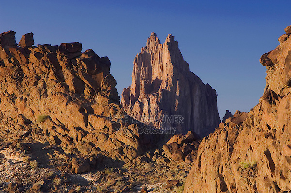Shiprock at sunset Volcanic Plug, Shiprock, New Mexico, USA