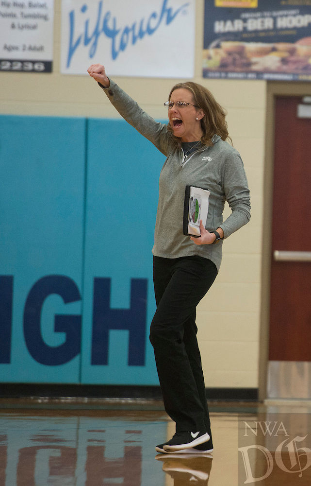 NWA Democrat-Gazette/ANTHONY REYES &bull; @NWATONYR<br /> Laura Crow, Conway head coach, celebrates a point against Springdale Har-Ber Thursday, Oct. 27, 2016 during the 7A State Tournament at Wildcat Arena in Springdale. The Lady Wildcats won in five sets earning a berth in the 7A state championship.