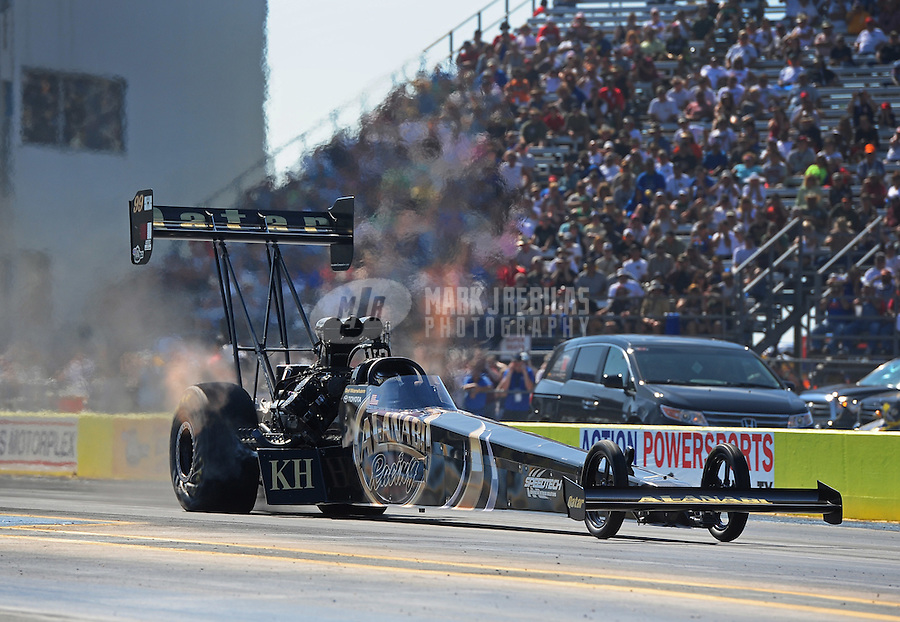 Sept. 24, 2011; Ennis, TX, USA: NHRA top fuel dragster driver Del Worsham during qualifying for the Fall Nationals at the Texas Motorplex. Mandatory Credit: Mark J. Rebilas-