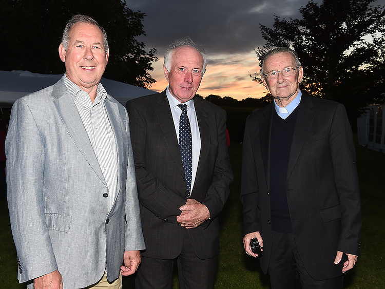 Lorcan Murphy, Pat Fallon and Fr Willie Cleary pictured at the 25th anniversary celebrations of Star of the Sea church Mornington. Photo:Colin Bell/pressphotos.ie