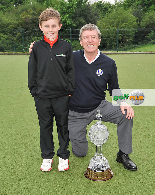 11.05.2016<br /> Golfer Des Smyth with Sean Reddy, during the visit of the Dubai Duty Free Irish Open Golf trophy to Gaelscoil Ui Drisceoil in Glanmire, Co Cork.<br /> Picture: Golffile | David Keane<br /> <br /> All photo usage must carry mandatory copyright credit (&copy; Golffile | David Keane)
