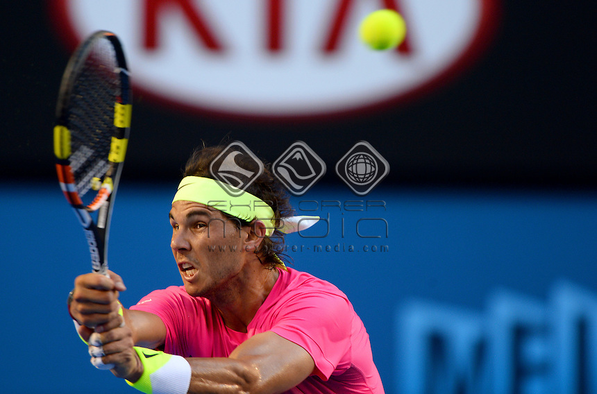 Rafael Nadal (ESP) during his 2nd round match<br /> 2015 Australian Open Tennis / Day 3<br /> Grand Slam of Asia Pacific<br /> Melbourne Park, Vic Australia<br /> Wednesday 21 January 2015<br /> &copy; Sport the library / Jeff Crow
