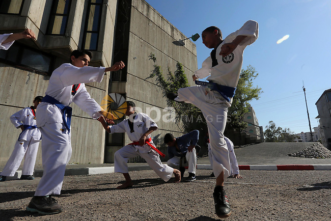 Palestinians perform Karate during a cultural carnival organized by Gaza Municipality in Gaza City April 1, 2016. Photo by Mohammed Asad