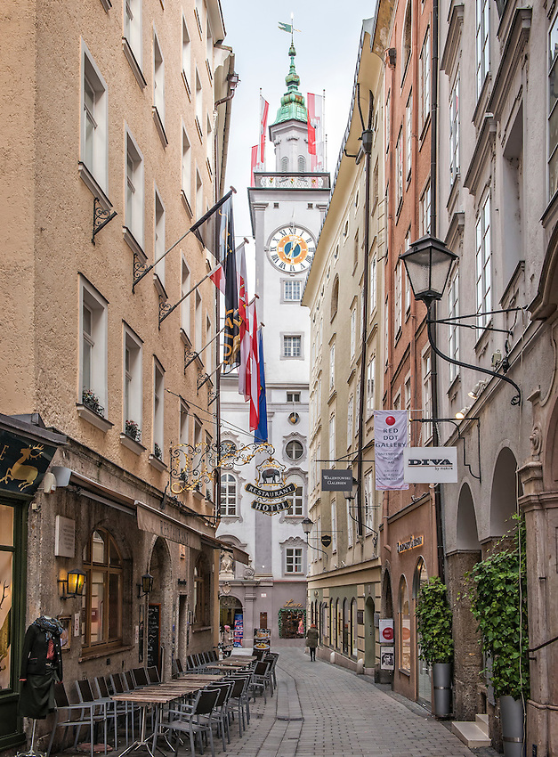 Partial view of the Salzburg Rathaus (city hall) at the end of the Sigmund-Haffner-Gasse.