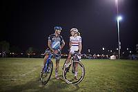 Ben Berden (BEL/Raleigh-Clement) &amp; British Champion Helen Wyman (GBR/Kona) catch up before the race<br /> <br /> Cross Vegas 2014