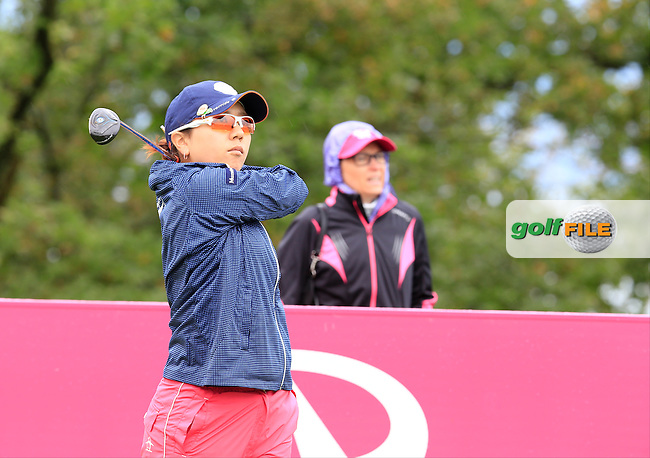 Mika Miyazato (JPN) tees off the 5th tee during Saturday's Round 3 of The 2016 Evian Championship held at Evian Resort Golf Club, Evian-les-Bains, France. 17th September 2016.<br /> Picture: Eoin Clarke | Golffile<br /> <br /> <br /> All photos usage must carry mandatory copyright credit (&copy; Golffile | Eoin Clarke)