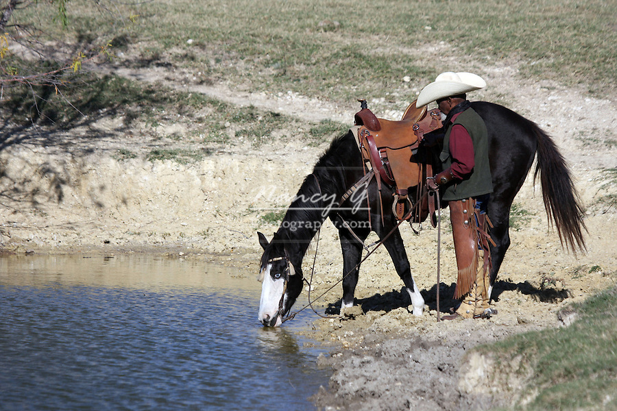 An African American cowboy watering his horse in a reservoir
