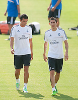 Players, Pepe adn Di MAria, during Real Madrid´s first training session of 2013-14 seson. July 15, 2013. (ALTERPHOTOS/Victor Blanco) ©NortePhoto
