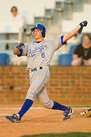 Gabe MacDougall #6 of the Burlington Royals follows through on his swing versus the Johnson City Cardinals at Howard Johnson Stadium June 27, 2009 in Johnson City, Tennessee. (Photo by Brian Westerholt / Four Seam Images)
