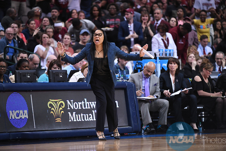 DALLAS, TX - MARCH 31:  Head Coach Dawn Stalet of South Carolina during the 2017 Women's Final Four at American Airlines Center on March 31, 2017 in Dallas, Texas. (Photo by Justin Tafoya/NCAA Photos via Getty Images)