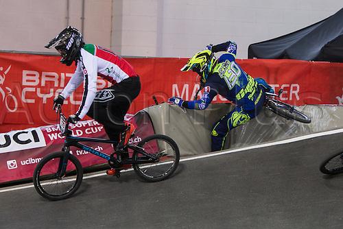 10.04.2016. National Cycling Centre, Manchester, England. UCI BMX Supercross World Cup Finals. Arthur Pilard crashes.