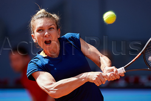 May 9th 2017, Caja Magica, Madrid, Spain; Mutua Madrid Open tennis tournament; Simona Halep of Roumania in action against Roberta Vinci of Italy