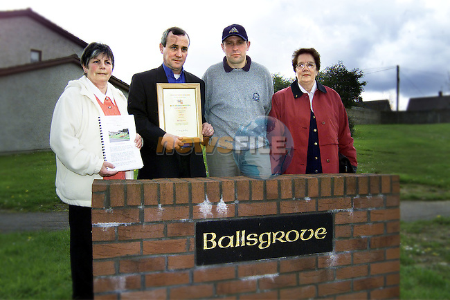Pauline O'Neill, Eugene Geraghty, chairman, Frank Hickey, vice chairman and Elma Finn from Ballsgrove who came 2nd in category D of the make Drogheda Beautiful Awards..Picture: Paul Mohan/Newsfile