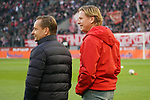 30.11.2019, RheinEnergieStadion, Koeln, GER, 1. FBL, 1.FC Koeln vs. FC Augsburg,<br />  <br /> DFL regulations prohibit any use of photographs as image sequences and/or quasi-video<br /> <br /> im Bild / picture shows: <br /> Markus Gisdol Trainer, Headcoach (1.FC Koeln), unterhaelt sich mit Horst Heldt Geschäftsführer / Geschaeftsfuehrer Sport (1.FC Koeln), auf dem Spielfeld <br /> <br /> Foto © nordphoto / Meuter