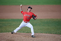 Batavia Muckdogs relief pitcher Evan Estes (33) delivers a pitch during a game against the Lowell Spinners on July 15, 2018 at Dwyer Stadium in Batavia, New York.  Lowell defeated Batavia 6-2.  (Mike Janes/Four Seam Images)