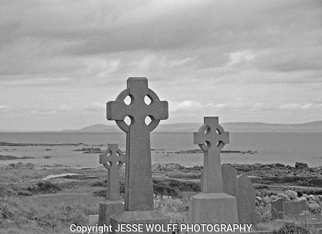 Graveyard looking out to Aran Islands in Ireland