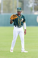 Oakland Athletics outfielder Jameson Hannah (53) warms up before an exhibition game against Team Italy at Lew Wolff Training Complex on October 3, 2018 in Mesa, Arizona. (Zachary Lucy/Four Seam Images)