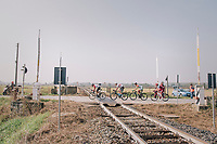 day-long breakaway group crossing a railroad: <br /> Thomas de Gendt (BEL/Lotto-Soudal), Willie Smit (ZAF/Katusha-Alpecin), Krists Neilands (LAT/Israel Cycling Academy) & Umberto Orsini (ITA/Bardiani - CSF)<br /> <br /> 99th Milano - Torino 2018 (ITA)<br /> from Magenta to Superga: 200km