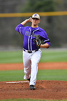 Starting pitcher Will Gaddis (24) of the Furman Paladins delivers a pitch in a game against the Wofford Terriers on Friday, March 24, 2017, at Russell C. King Field in Spartanburg, South Carolina. Wofford won, 9-8. (Tom Priddy/Four Seam Images)