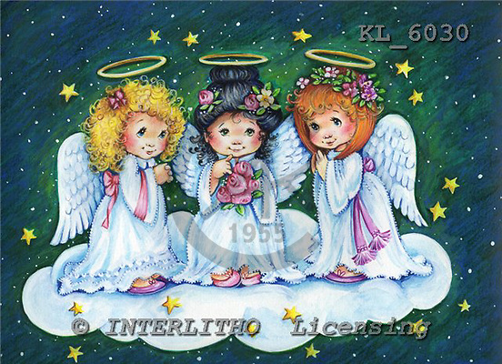 Interlitho, CHRISTMAS CHILDREN, WEIHNACHTEN KINDER, NAVIDAD NIÑOS, paintings+++++,3 angels,roses,green sky,KL6030,#xk#