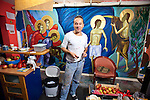Iconographer Miloje Milinkiovic in his apartment and studio with fresco being painted for the Zurich, Switzerland, Serbian Orthodox Church, Belgrade, Serbia.