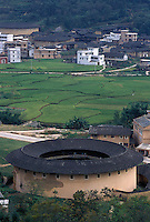 Overview of a traditional Hakka round house in Hakka Village, Fujian Province, China. These fort-like structures house dozens of families and can be several hundreds of years old.  .
