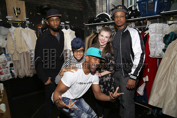 """Donald Webber, Bryan Terell Clark, Syndee Winters, Eliza Ohman and J. Quinton Johnson from the 'Hamilton' cast before The Rockefeller Foundation and The Gilder Lehrman Institute of American History sponsored High School student #EduHam matinee performance of """"Hamilton"""" at the Richard Rodgers Theatre on 5/10/2017 in New York City."""