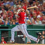 29 July 2017: Washington Nationals second baseman Daniel Murphy in action against the Colorado Rockies at Nationals Park in Washington, DC. The Rockies defeated the Nationals 4-2 in the first game of their 3-game weekend series. Mandatory Credit: Ed Wolfstein Photo *** RAW (NEF) Image File Available ***
