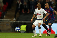 Lucas of Tottenham Hotspur and Rafinha of FC Barcelona during Tottenham Hotspur vs FC Barcelona, UEFA Champions League Football at Wembley Stadium on 3rd October 2018