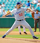 11 March 2006: Aaron Sele, pitcher for the Los Angeles Dodgers, winds up on the mound during a Spring Training game against the Washington Nationals. The Nationals defeated the Dodgers 2-1 in 10 innings at Space Coast Stadium, in Viera, Florida...Mandatory Photo Credit: Ed Wolfstein.