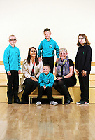 L-R Alfie, Erin McGeough from Amazon, twins Lewis and Leon, deputy head teacher Lisa James Smith and Jessica,