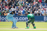 Jason Roy (England) takes one for the throw and gets home as \b15'\breaks the wicket during England vs Bangladesh, ICC World Cup Cricket at Sophia Gardens Cardiff on 8th June 2019