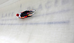 7 February 2009:  Felix Loch slides for Germany finishing first in the Men's Competition with a combined time of 1:44.336 at the 41st FIL Luge World Championships, in Lake Placid, New York, USA. .  .Mandatory Photo Credit: Ed Wolfstein Photo