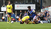 Blackburn Rovers' Derrick Williams is taken down by Ipswich Town's Ellis Harrison'<br /> <br /> Photographer Rachel Holborn/CameraSport<br /> <br /> The EFL Sky Bet Championship - Ipswich Town v Blackburn Rovers - Saturday 4th August 2018 - Portman Road - Ipswich<br /> <br /> World Copyright &copy; 2018 CameraSport. All rights reserved. 43 Linden Ave. Countesthorpe. Leicester. England. LE8 5PG - Tel: +44 (0) 116 277 4147 - admin@camerasport.com - www.camerasport.com