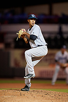 Tampa Tarpons relief pitcher Adonis Rosa (4) delivers a pitch during a game against the Lakeland Flying Tigers on April 5, 2018 at Publix Field at Joker Marchant Stadium in Lakeland, Florida.  Tampa defeated Lakeland 4-2.  (Mike Janes/Four Seam Images)