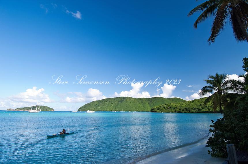Kayaker at Maho Bay<br /> Virgin Islands National Park<br /> St. John, U.S. Virgin Islands