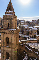 Italy, Lucania,Matera,landscape to Civita and Gravina from the bell tower of San Pietro in Barisano with snow