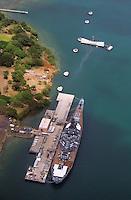 Aerial view of historic landmarks,USS Missouri and USS Arizona Memorial located at Pearl Harbor on Oahu, Hawaii..