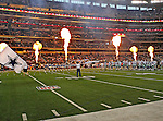 The Dallas Cowboys get ready for the pre- season game between the Miami Dolphins and the Dallas Cowboys at the Cowboys Stadium in Arlington, Texas. Dallas defeats  Miami 30 to 13..