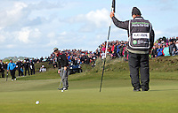 Sunday 31st May 2015; S&oslash;ren Kjeldsen, Denmark, putts up the 18th green in the playoff<br /> <br /> Dubai Duty Free Irish Open Golf Championship 2015, Round 4 County Down Golf Club, Co. Down. Picture credit: John Dickson / DICKSONDIGITAL