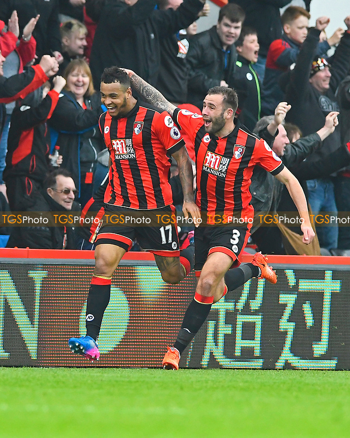 Joshua King of AFC Bournemouth left celebrates his hat trick and the winning goal during AFC Bournemouth vs West Ham United, Premier League Football at the Vitality Stadium on 11th March 2017
